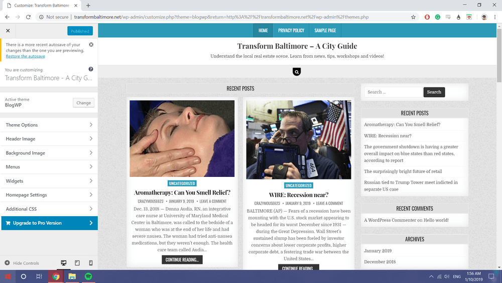 An Example of a WordPress Site